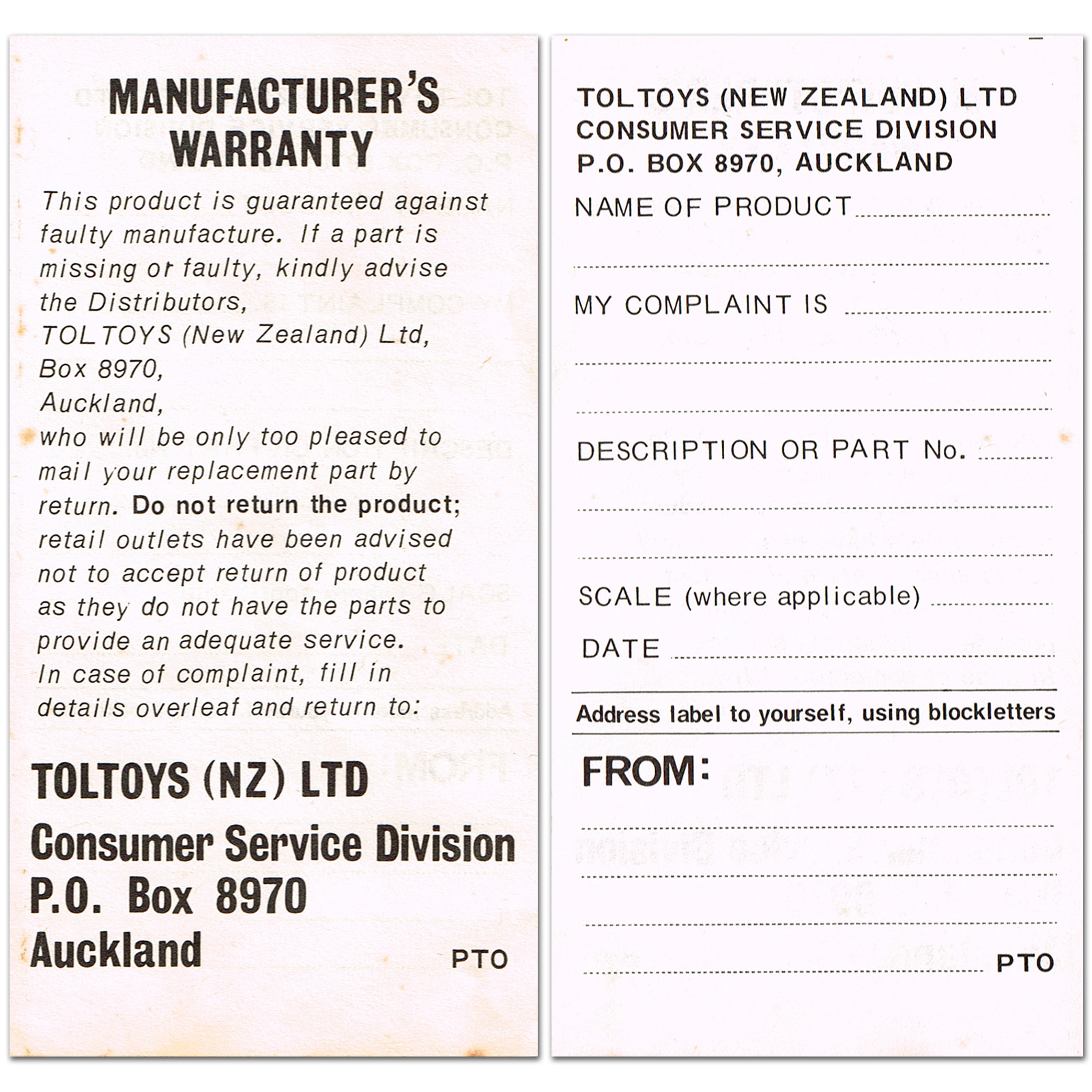 MPC Star Wars Kitset Warranty Form
