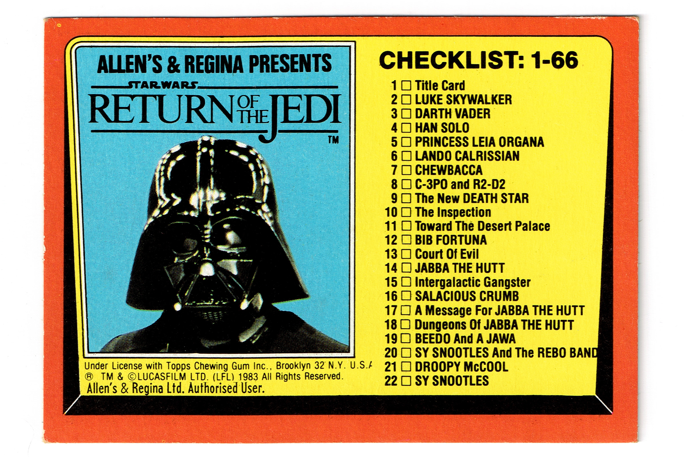 Allen's and Regina NZ Return of the Jedi Trading Card