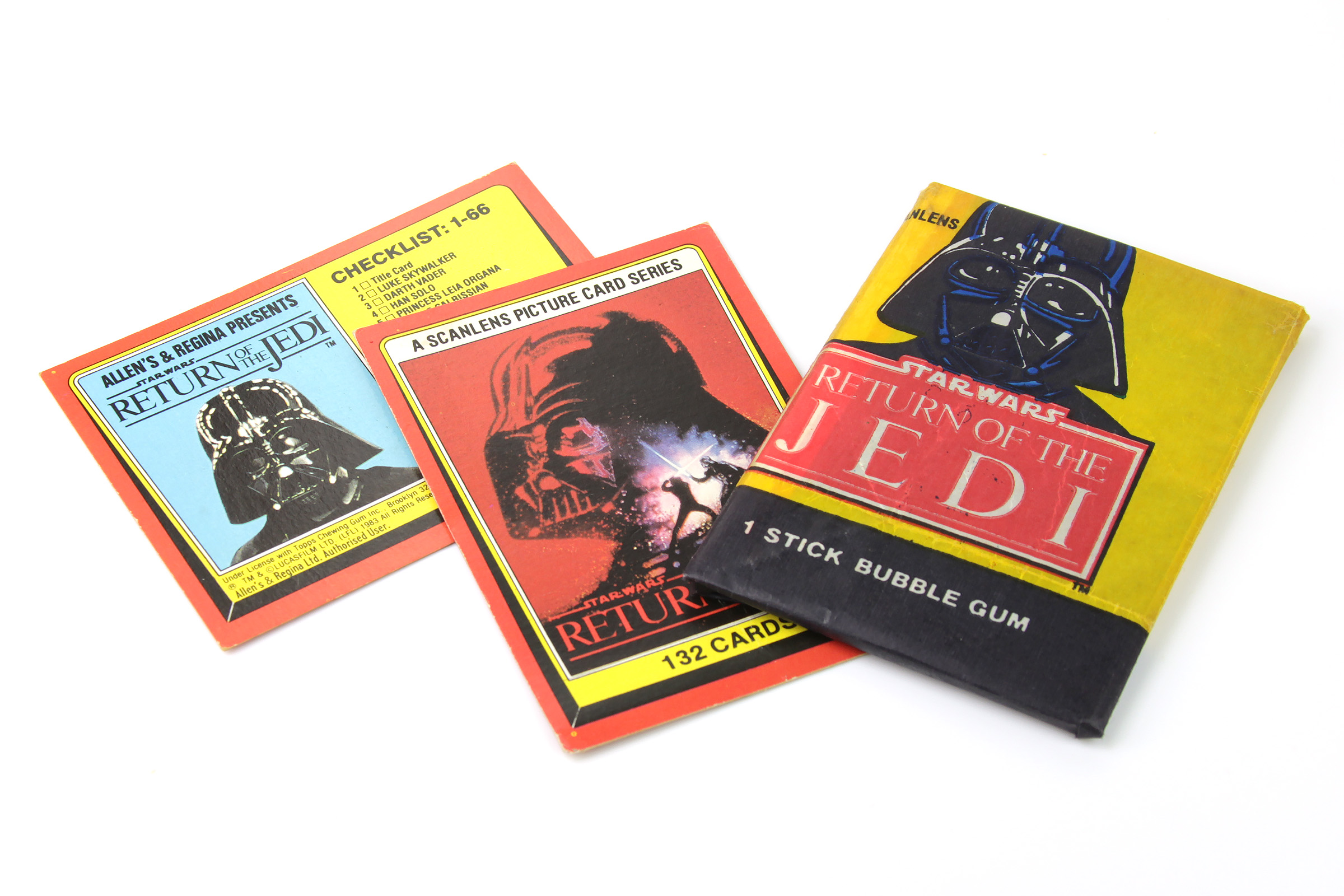 Allen's and Regina ROTJ bubblegum pack and cards