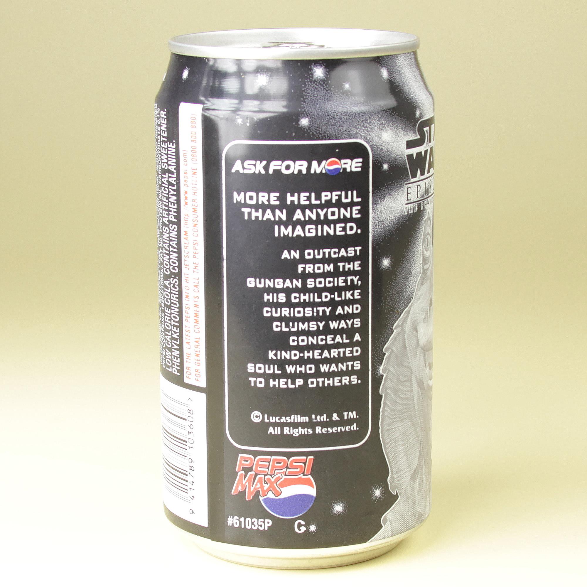 Jar Jar Binks Pepsi Max can (NZ, 1999)