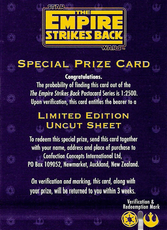 Confection Concepts The Empire Strikes Back Prize Card