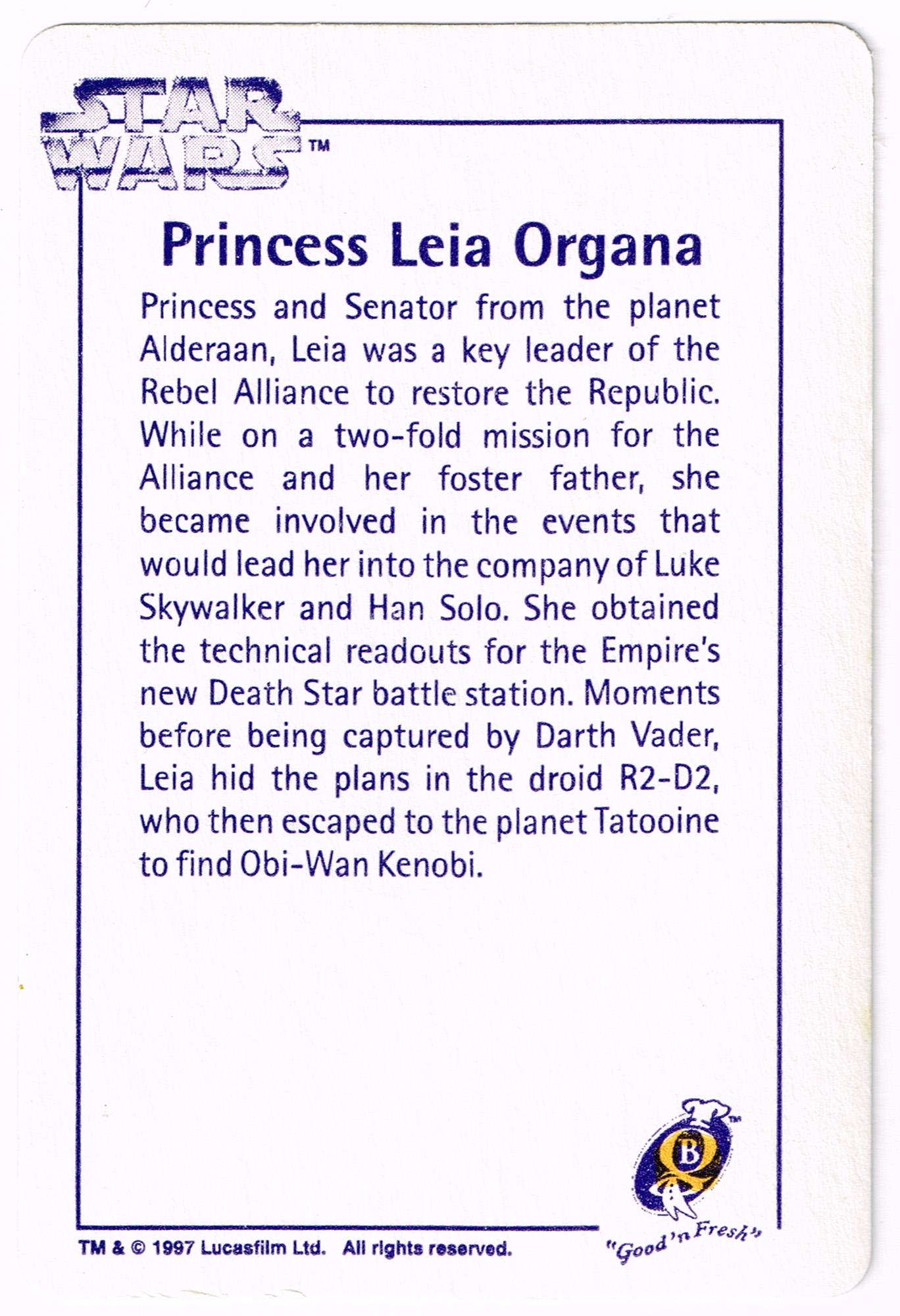 Quality Bakers Card 3 - Princess Leia Organa