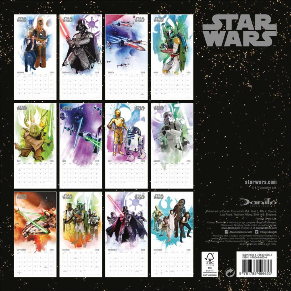 Star Wars 2019 Calendars