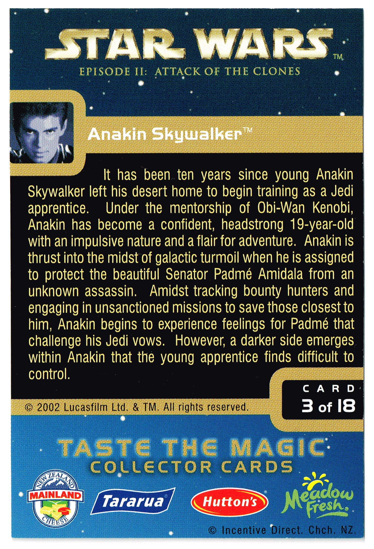 """Taste the Magic"" Collector Card 03 - Anakin Skywalker"