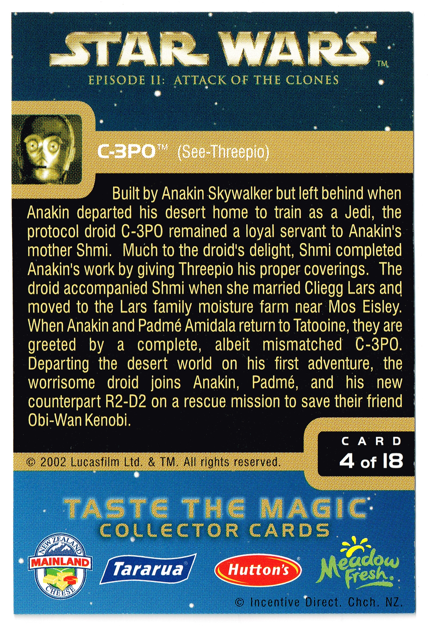 """Taste the Magic"" Collector Card 04 - C-3PO"