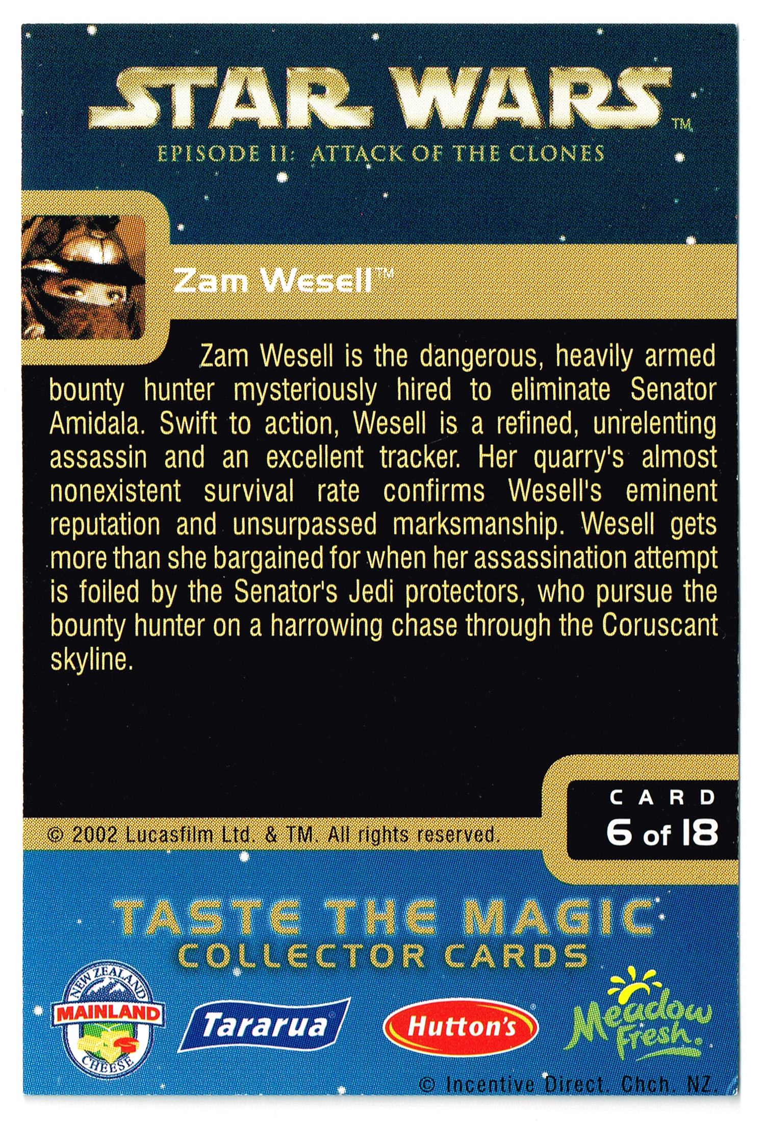 """""""Taste the Magic"""" Collector Card 06 - Zam Wesell"""