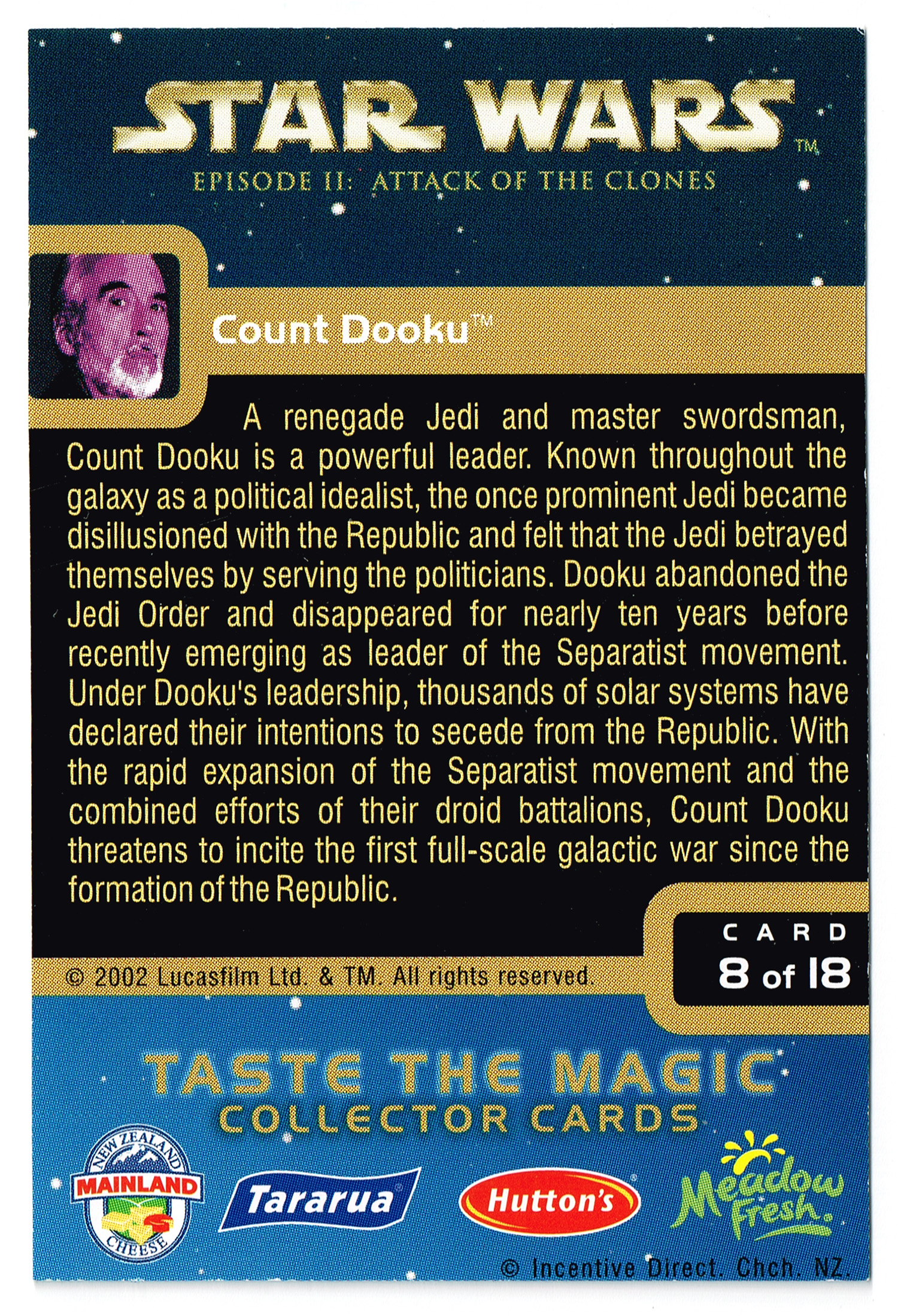 """Taste the Magic"" Collector Card 08 - Count Dooku"