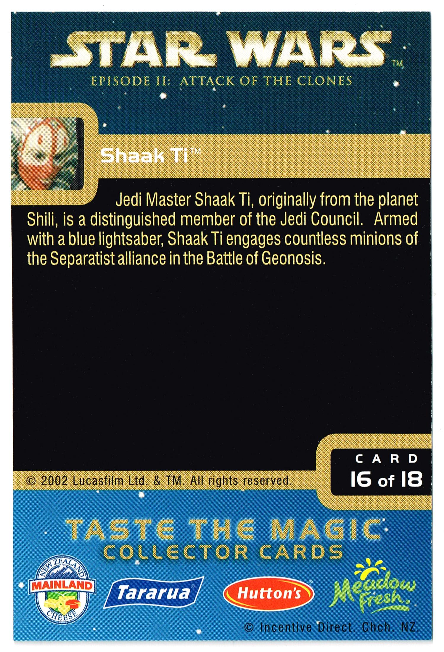 """Taste the Magic"" Collector Card 16 - Shaak Ti"