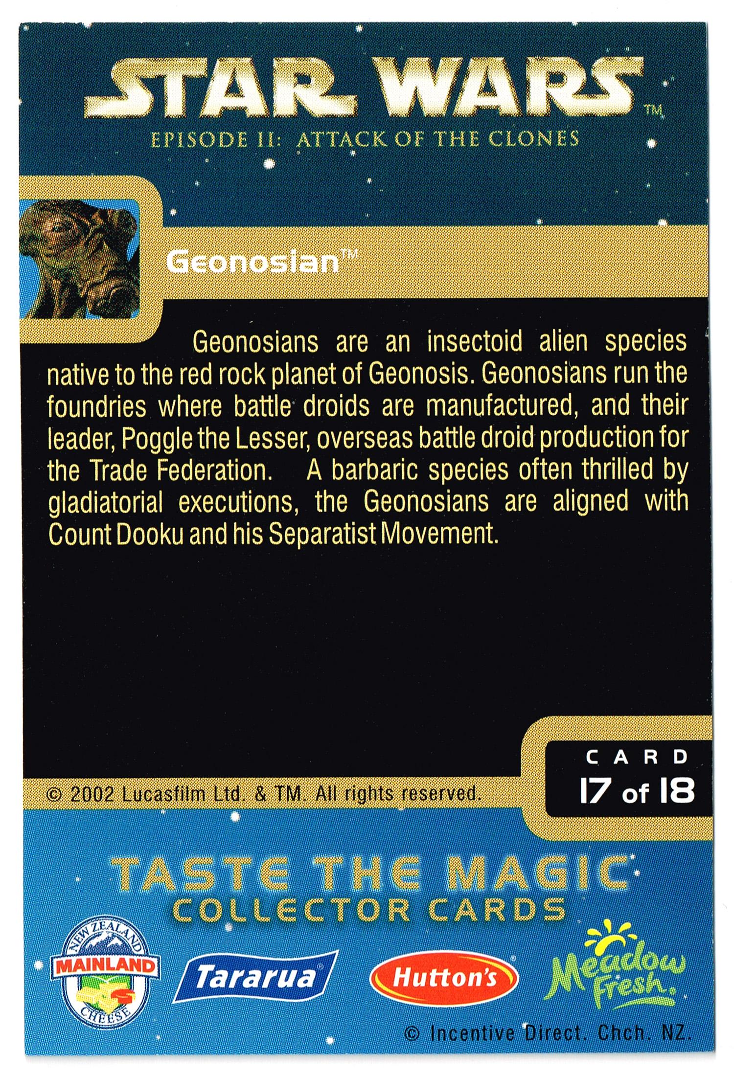 """Taste the Magic"" Collector Card 17 - Geonosian"
