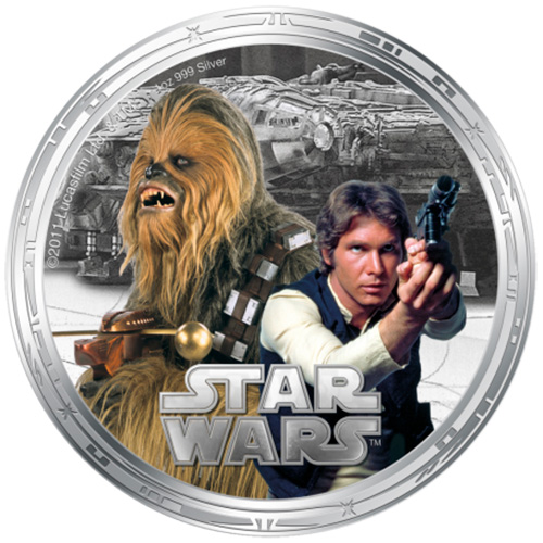 NZ Mint 1oz Silver Coin - Chewbacca and Han Solo