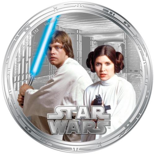 NZ Mint 1oz Silver Coin - Luke Skywalker and Princess Leia