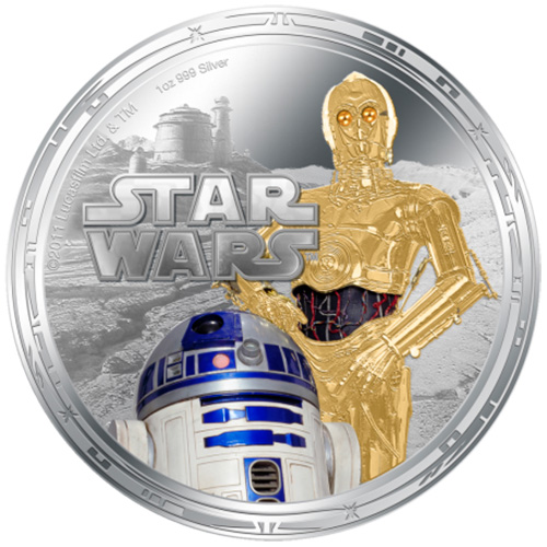 NZ Mint 1oz Silver Coin - R2-D2 and C-3PO