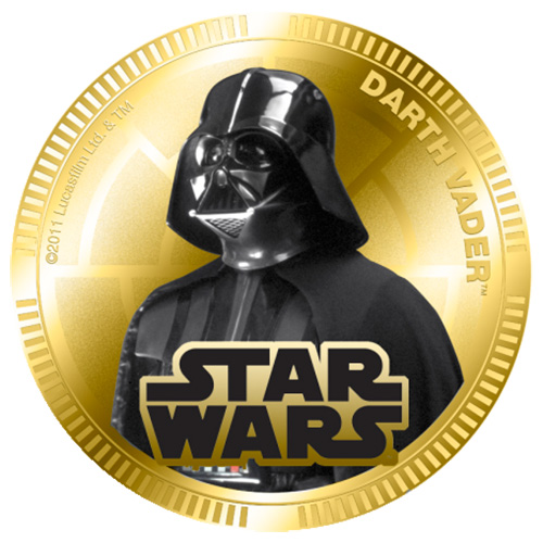NZ Mint Gold Plated Base Metal Coin - Darth Vader