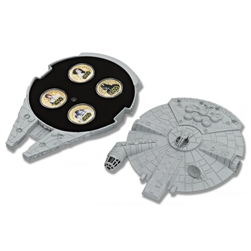 NZ Mint Gold Plated Base Metal Coin - Millennium Falcon Case