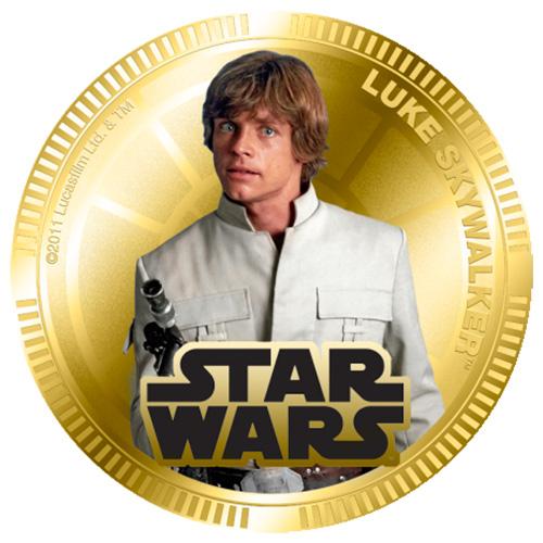 NZ Mint Gold Plated Base Metal Coin - Luke Skywalker