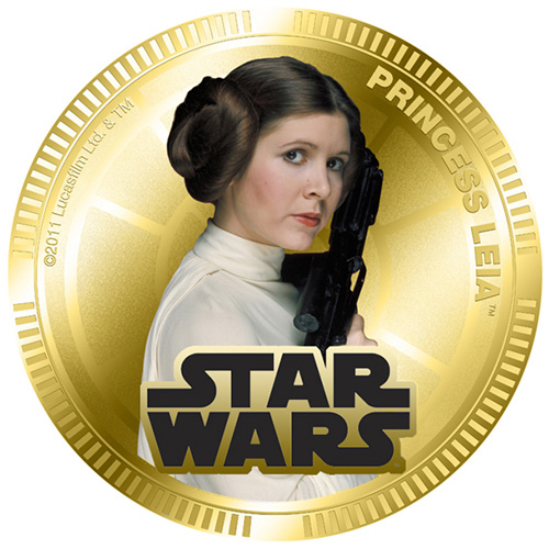 NZ Mint Gold Plated Base Metal Coin - Princess Leia