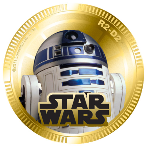 NZ Mint Gold Plated Base Metal Coin - R2-D2