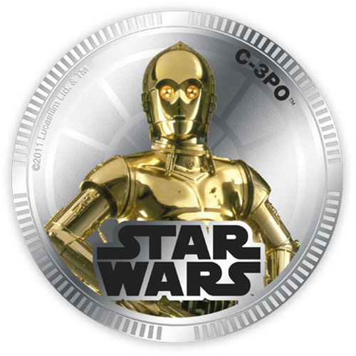 NZ Mint Silver Plated Base Metal Coin - C-3PO