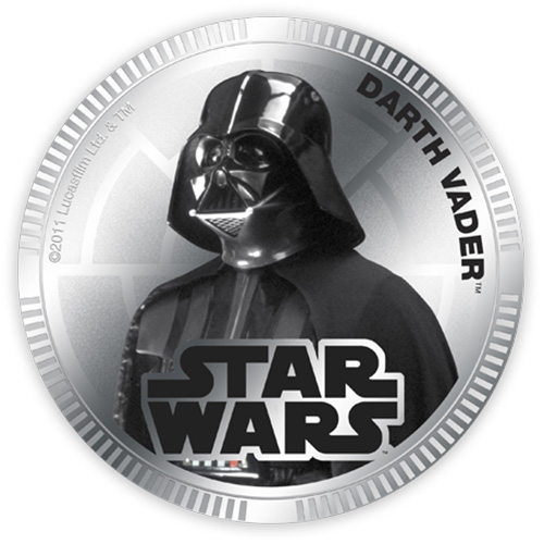 NZ Mint Silver Plated Base Metal Coin - Darth Vader