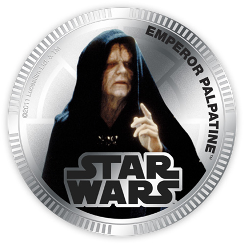 NZ Mint Silver Plated Base Metal Coin - Emperor Palpatine