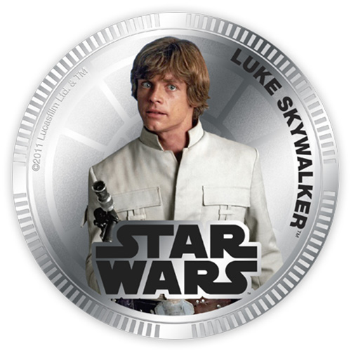 NZ Mint Silver Plated Base Metal Coin - Luke Skywalker