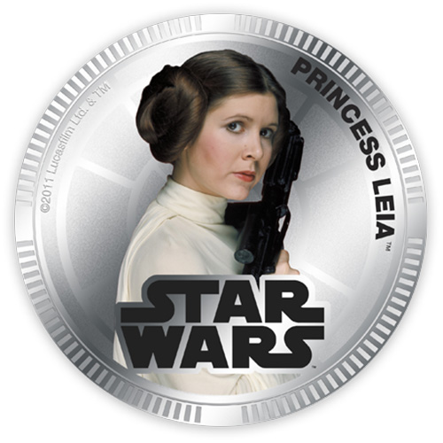 NZ Mint Silver Plated Base Metal Coin - Princess Leia