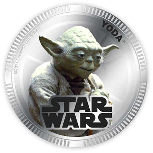 NZ Mint Silver Plated Base Metal Coin - Yoda