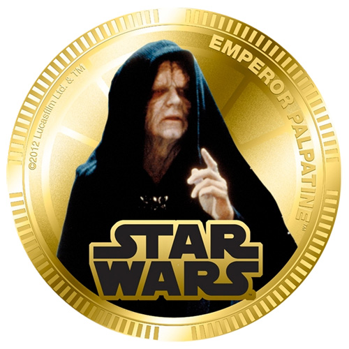 NZ Mint Gold Plated Base Metal Coin - Emperor Palpatine