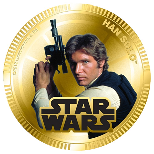 NZ Mint Gold Plated Base Metal Coin - Han Solo